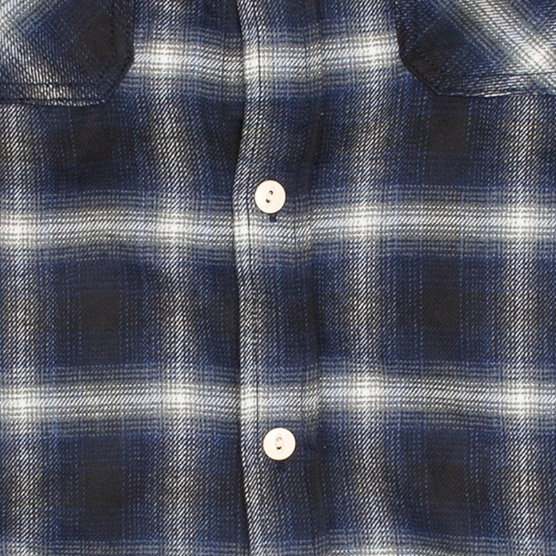 Crosscut Flannel in Navy Ombre