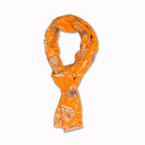 Scarf Yellow Paisley in Linen and Silk