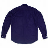 Wool Flannel Shirt/Jacket (shacket) in Blue with Purple Hue