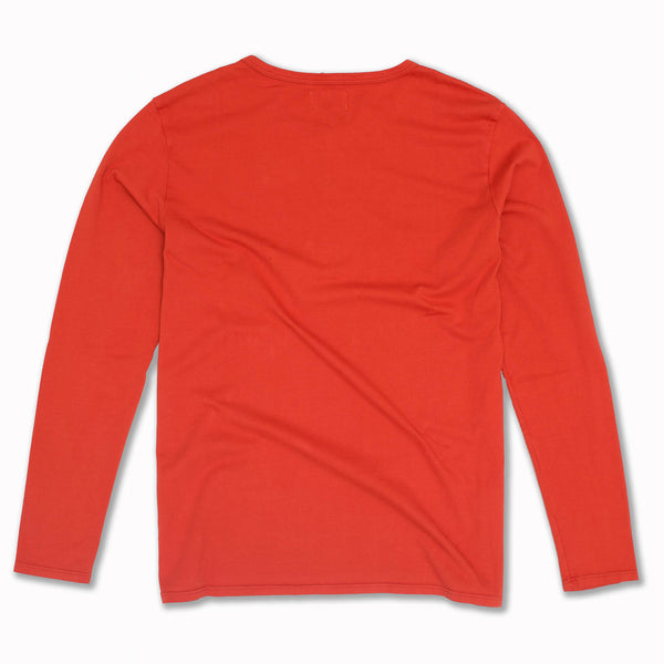 Henley en Coton Pima de couleur Orange Sanguine