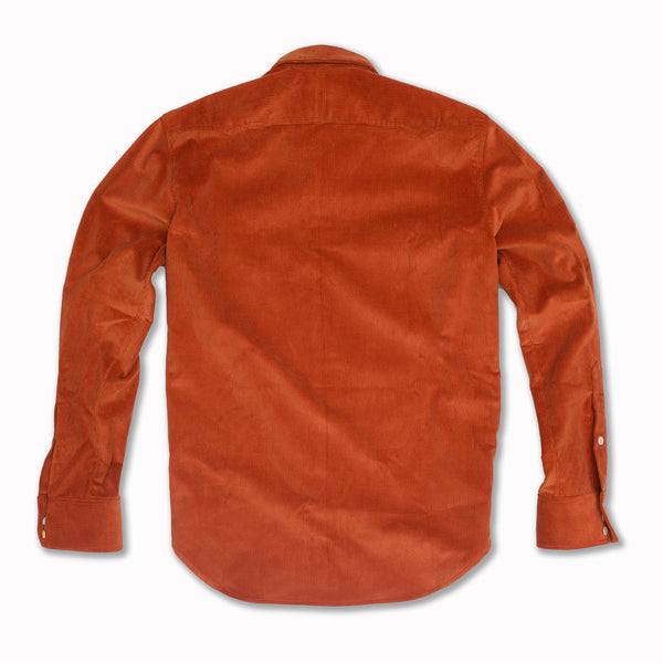 Micro-Corduroy Western Shirt in Brick Red