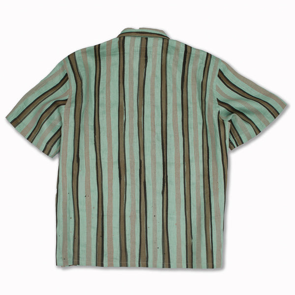 Hand Painted Brush Stroke Camp Shirt in Sage linen