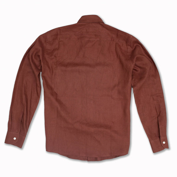 Linen Acorn Pocket Long Sleeve in Plum