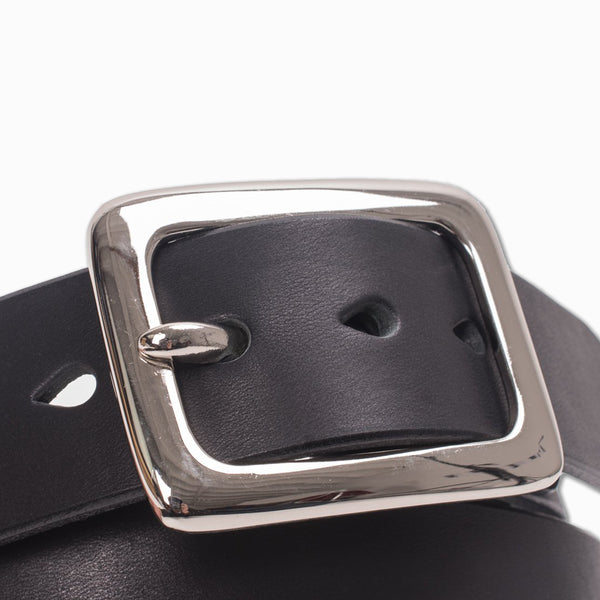 """Tochigi"" Leather Belt With Nickel Plated Garrison Buckle in Black (IHB-08)"