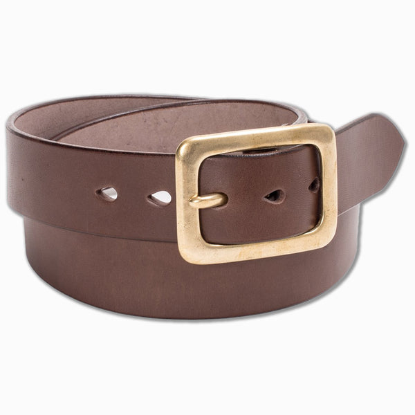 """Tochigi"" Leather Belt With Brass Plated Garrison Buckle in Brown (IHB-07)"