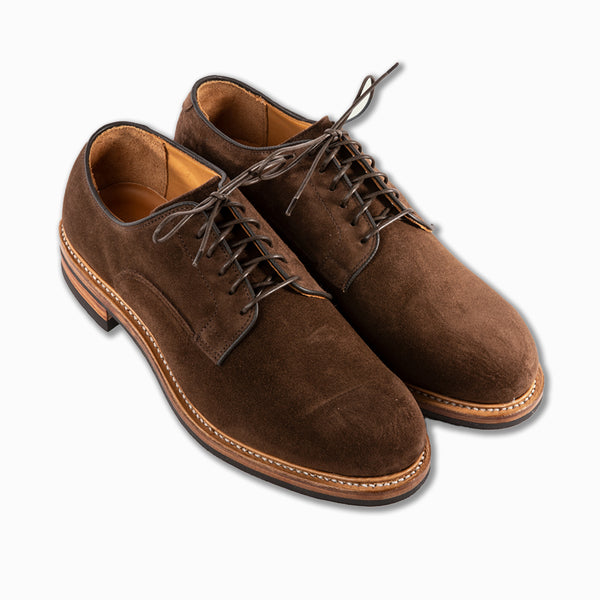 Derby shoe in vegetable tanned Charles F. Stead Brown calf suede