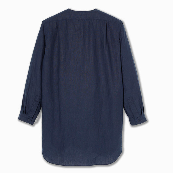 Peasant Shirt in Navy Linen