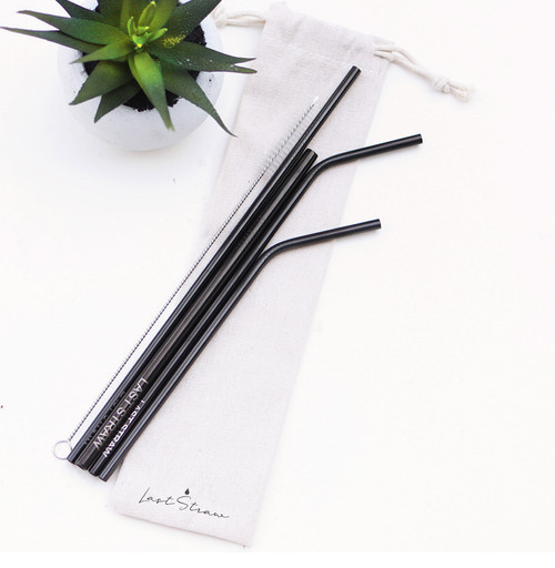5pc Stainless Reusable Straw Set with Linen Pouch and cleaning brush