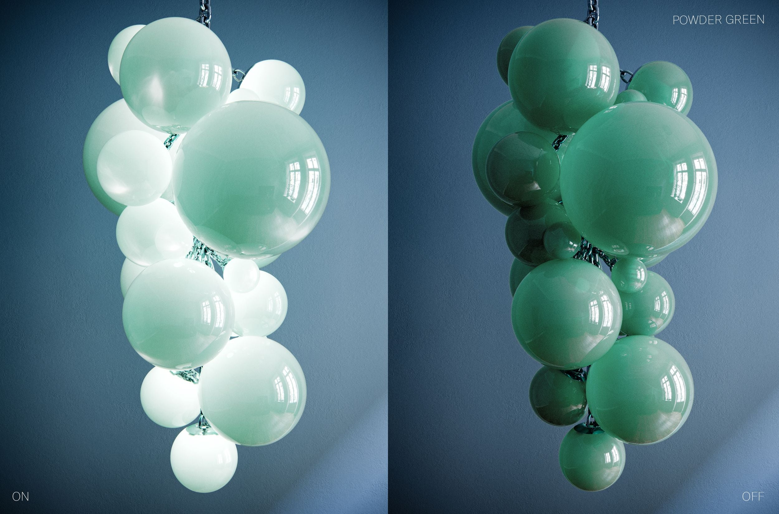 Kuulas Glass Chandelier in Powder Green Cameron Design House