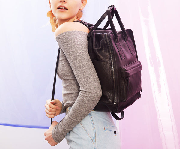 Nora Backpack | Black - A R A M L E E ® Convertible Transformable Italian Leather Handbag Backpack Purse