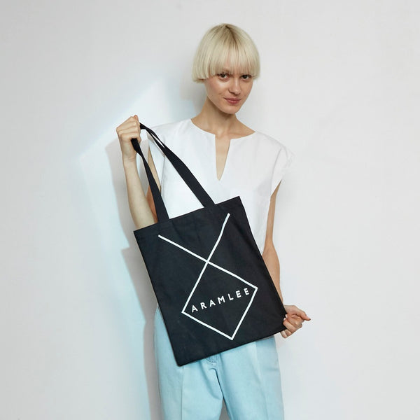 Logo Canvas Tote | Black - A R A M L E E ® Convertible Transformable Italian Leather Handbag Backpack Purse