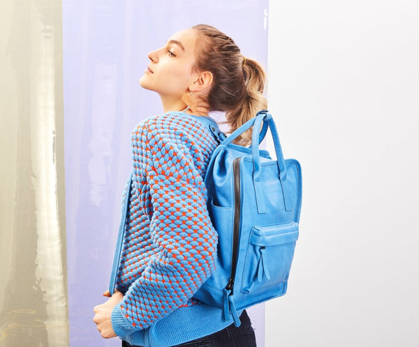 Nora Backpack | Ocean Blue - A R A M L E E ® Convertible Transformable Italian Leather Handbag Backpack Purse