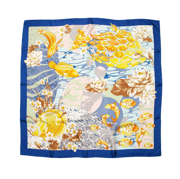 Fish & Ocean Silk Scarf | Cobalt Blue - A R A M L E E ® Convertible Transformable Italian Leather Handbag Backpack Purse