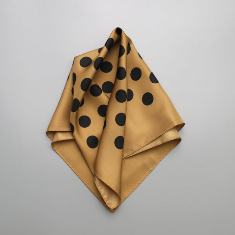 Polka Dot Silk Scarf | Beige - A R A M L E E ® Convertible Transformable Italian Leather Handbag Backpack Purse