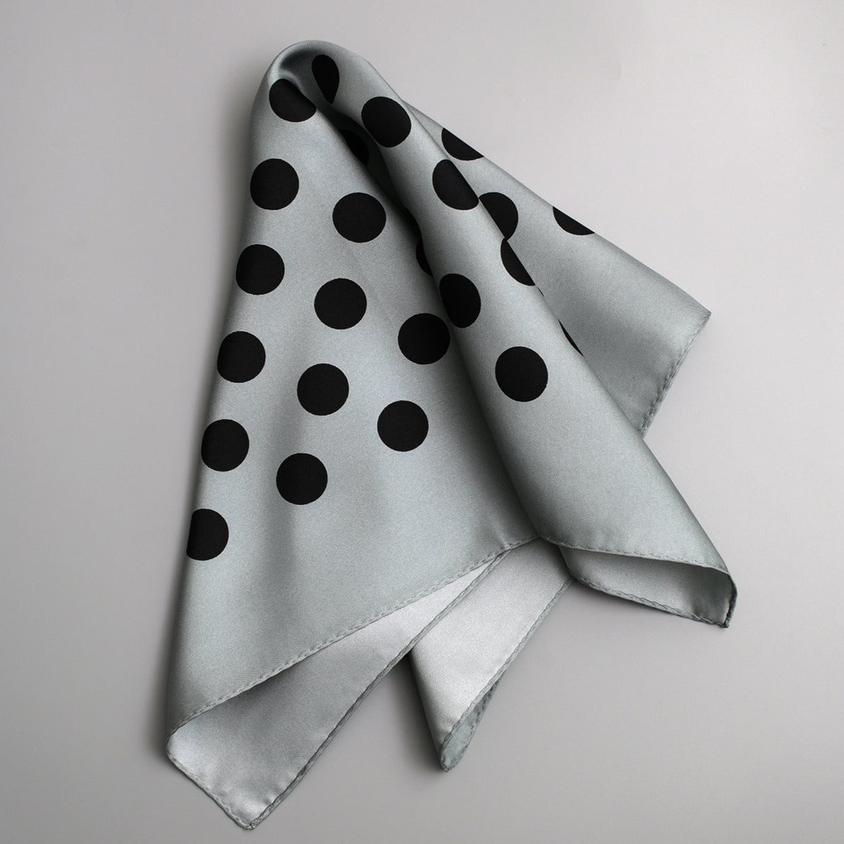 Polka Dot Silk Scarf | Light Blue - A R A M L E E ®