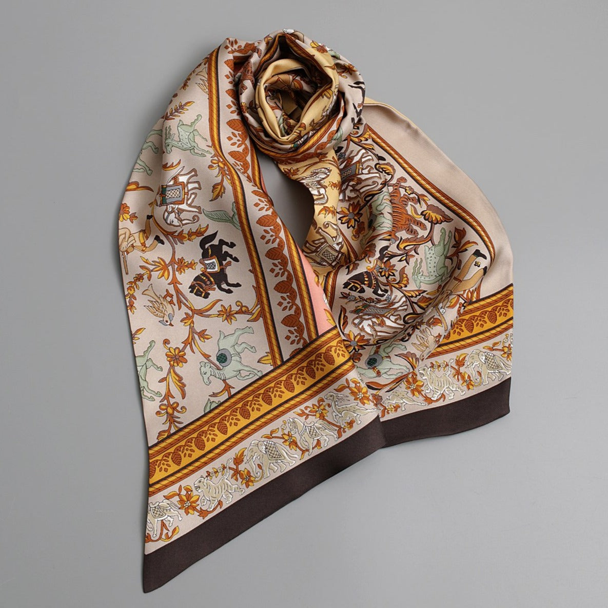 Marching Animals Silk Long Scarf | Nude Pink - A R A M L E E ®