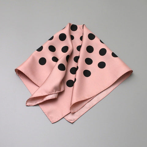 Polka Dot Silk Scarf | Pink - A R A M L E E ® Convertible Transformable Italian Leather Handbag Backpack Purse