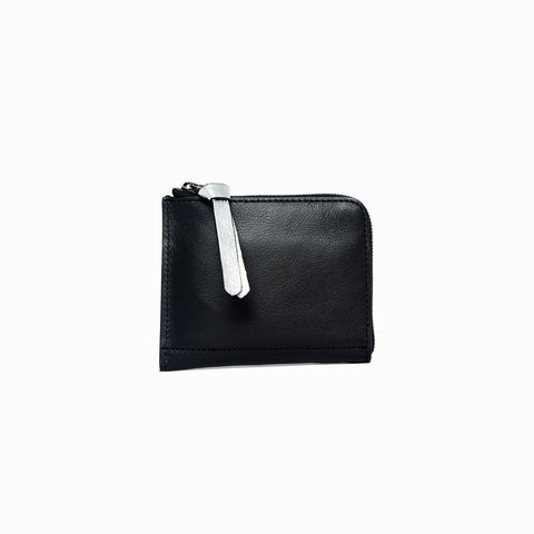 Half Zip Wallet | Black - A R A M L E E ® Convertible Transformable Italian Leather Handbag Backpack Purse