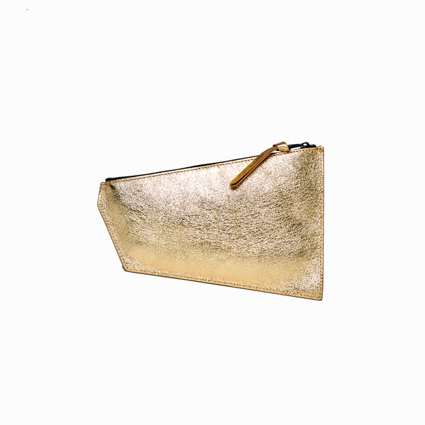 Geometric Pouch | Beige + Gold - A R A M L E E ® Convertible Transformable Leather Handbag