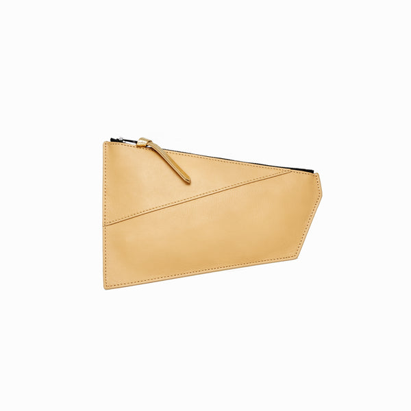 Geometric Pouch | Beige + Gold - A R A M L E E ® Convertible Transformable Italian Leather Handbag Backpack Purse