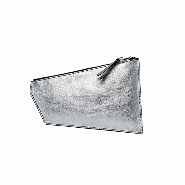 Geometric Pouch | Black + Silver - A R A M L E E ® Convertible Transformable Leather Handbag