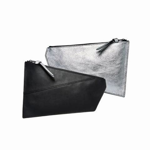 Geometric Pouch | Black + Silver - A R A M L E E ® Convertible Transformable Italian Leather Handbag Backpack Purse