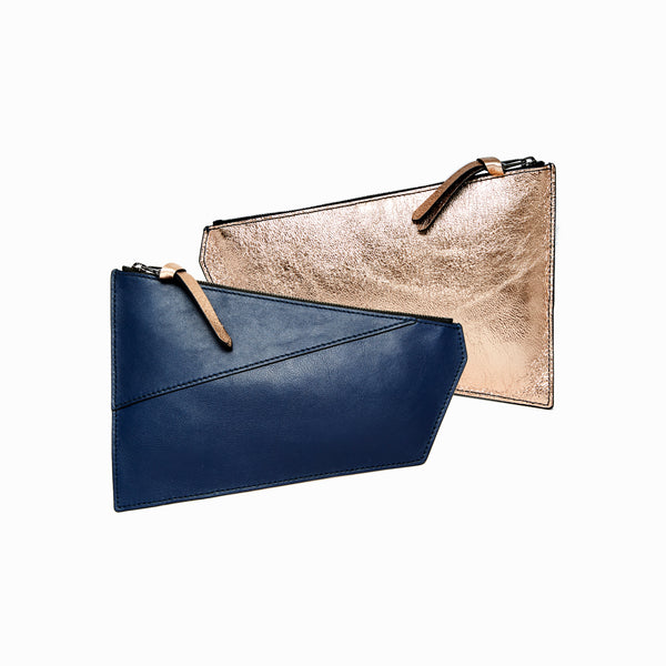 Geometric Pouch | Navy + Rosegold - A R A M L E E ® Convertible Transformable Italian Leather Handbag Backpack Purse