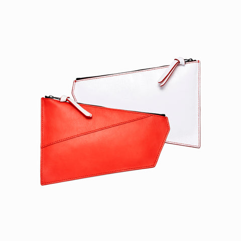Geometric Pouch | Red + White - A R A M L E E ® Convertible Transformable Italian Leather Handbag Backpack Purse