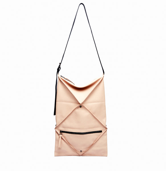 Hana Shoulder Bag | Blush - A R A M L E E ® Convertible Transformable Italian Leather Handbag Backpack Purse