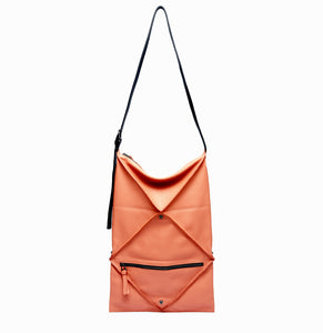 Hana Shoulder Bag | Coral - A R A M L E E ® Convertible Transformable Italian Leather Handbag Backpack Purse