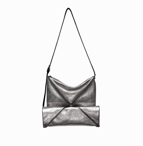 Hana Shoulder Bag | Anthracite Metallic - A R A M L E E ® Convertible Transformable Italian Leather Handbag Backpack Purse