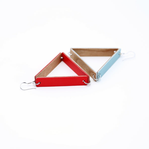 Triangle Earrings | Fire Red - A R A M L E E ® Convertible Transformable Italian Leather Handbag Backpack Purse