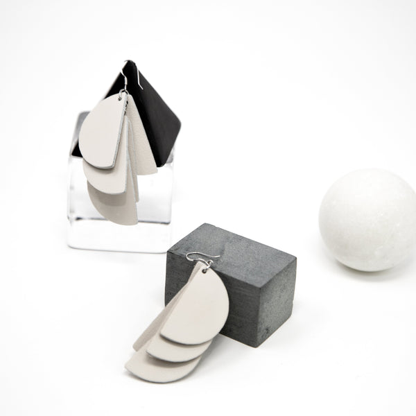 Madeline Earrings | Ivory - A R A M L E E ® Convertible Transformable Italian Leather Handbag Backpack Purse