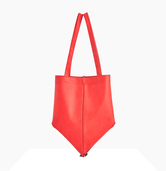 Mari Tote | Fire Red - A R A M L E E ® Convertible Transformable Italian Leather Handbag Backpack Purse