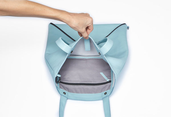Mari Tote | Misty Sky - A R A M L E E ® Convertible Transformable Italian Leather Handbag Backpack Purse