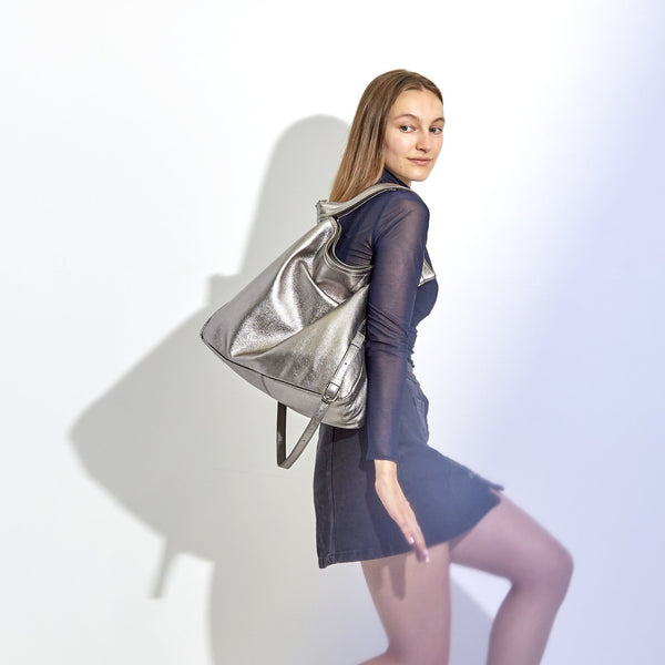 Rei Convertible Shoulder Bag | Metallic - A R A M L E E ® Convertible Transformable Italian Leather Handbag Backpack Purse