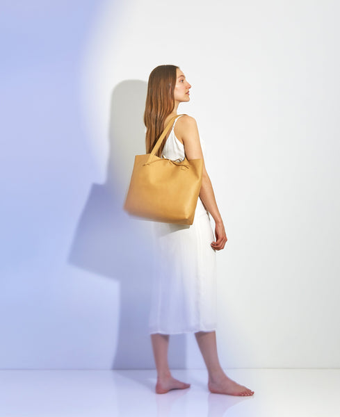 Kala Reversible Tote | Beige + Gold - A R A M L E E ® Convertible Transformable Italian Leather Handbag Backpack Purse