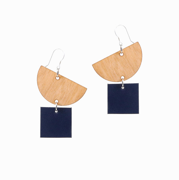 Moonrise Earrings | Navy - A R A M L E E ® Convertible Transformable Italian Leather Handbag Backpack Purse