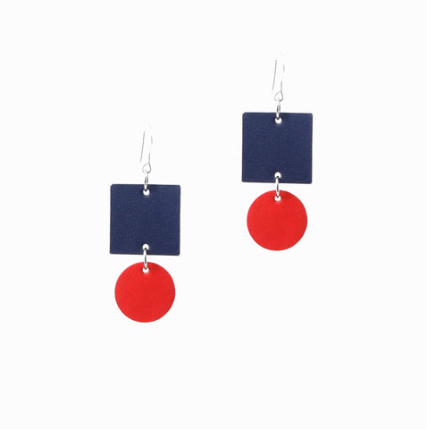 Sunset Earrings | Navy - A R A M L E E ® Convertible Transformable Italian Leather Handbag Backpack Purse