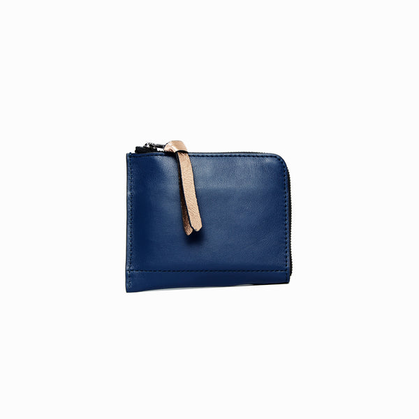 Half Zip Wallet | Navy - A R A M L E E ® Convertible Transformable Italian Leather Handbag Backpack Purse