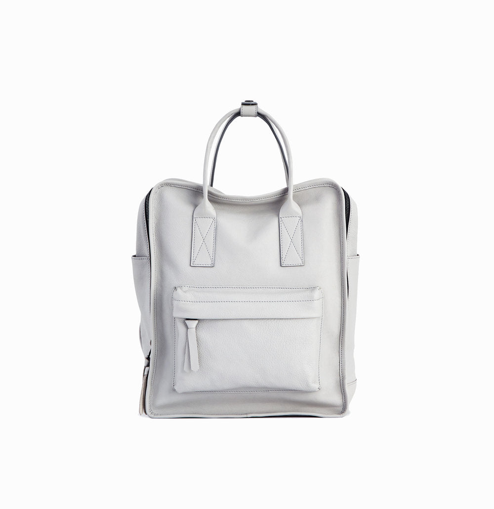 Nora Backpack | Light Grey - A R A M L E E ® Convertible Transformable Italian Leather Handbag Backpack Purse
