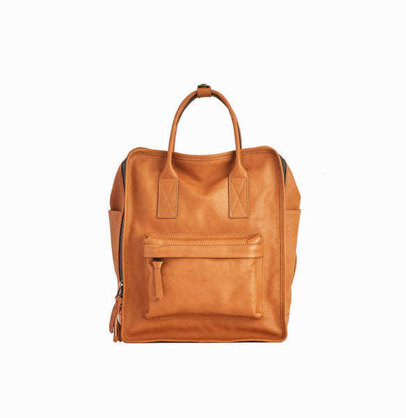 Nora Backpack | Tan - A R A M L E E ® Convertible Transformable Italian Leather Handbag Backpack Purse