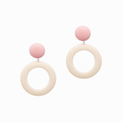 Ring Drops Earrings | Pink + Ivory - A R A M L E E ® Convertible Transformable Italian Leather Handbag Backpack Purse