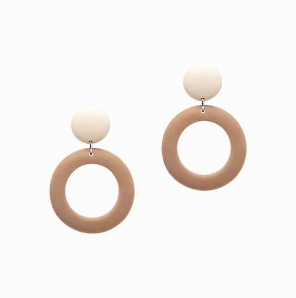Ring Drops Earrings | Ivory + Taupe - A R A M L E E ®