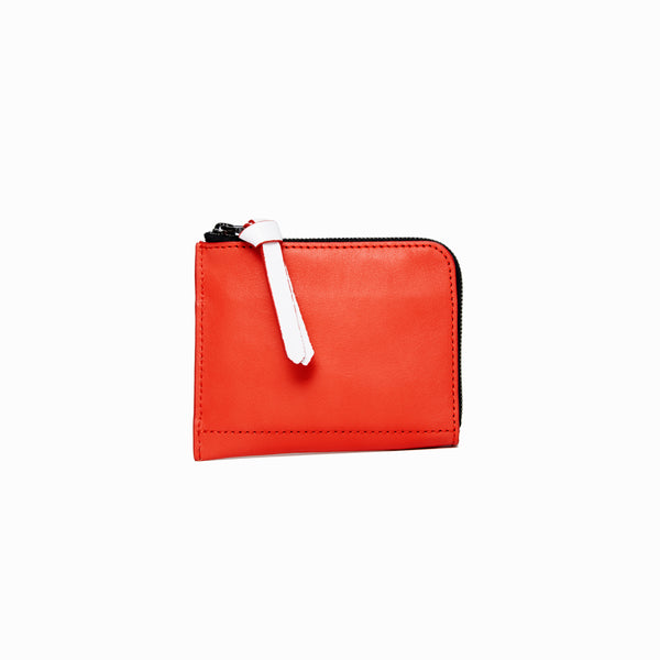 Half Zip Wallet | Red - A R A M L E E ® Convertible Transformable Italian Leather Handbag Backpack Purse
