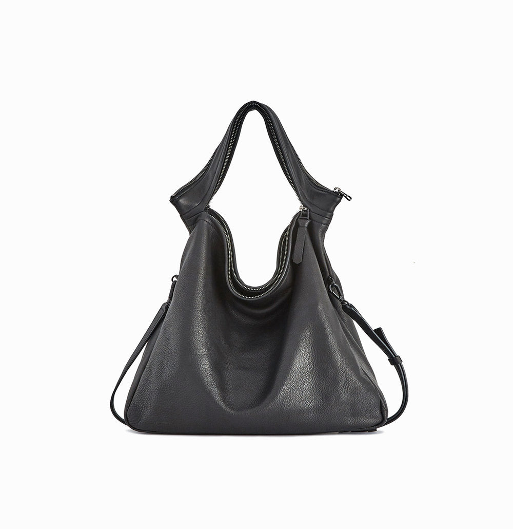 Rei Convertible Shoulder Bag | Black - A R A M L E E ® Convertible Transformable Italian Leather Handbag Backpack Purse