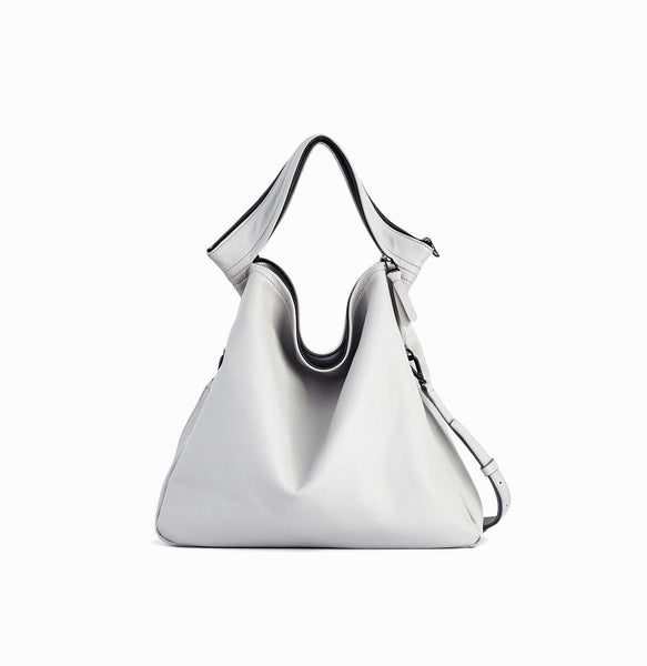 Rei Convertible Shoulder Bag | Light Grey - A R A M L E E ® Convertible Transformable Italian Leather Handbag Backpack Purse