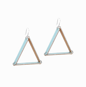 Triangle Earrings | Misty Sky - A R A M L E E ® Convertible Transformable Italian Leather Handbag Backpack Purse