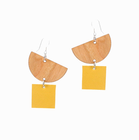 Moonrise Earrings | Yellow - A R A M L E E ® Convertible Transformable Italian Leather Handbag Backpack Purse
