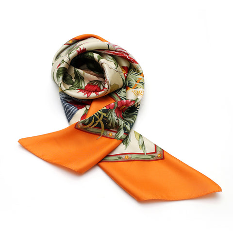 Birds & Flowers Silk Scarf | Orange - A R A M L E E ® Convertible Transformable Italian Leather Handbag Backpack Purse